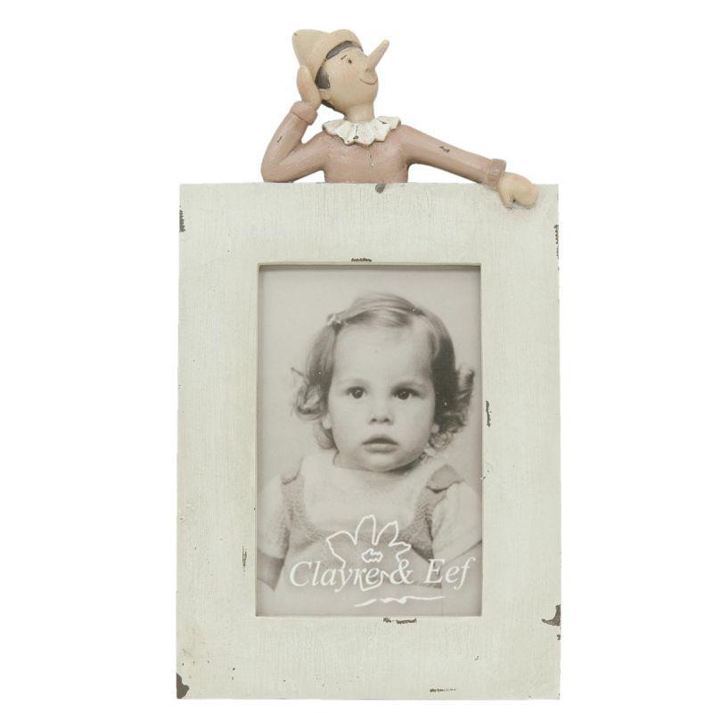 Rámeček na fotku s patinou a postavičkou Pinokio 15 x 27 cm (Clayre & Eef)