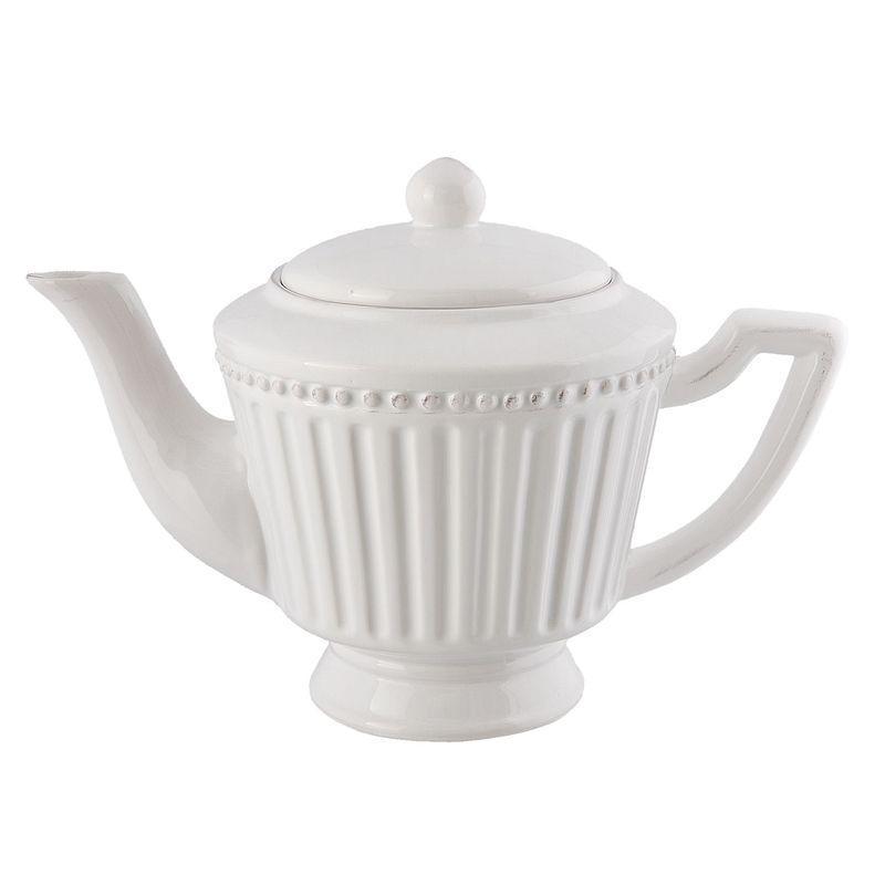 Bílá konvička na čaj ELEGANT 0,9 l (Clayre & Eef)