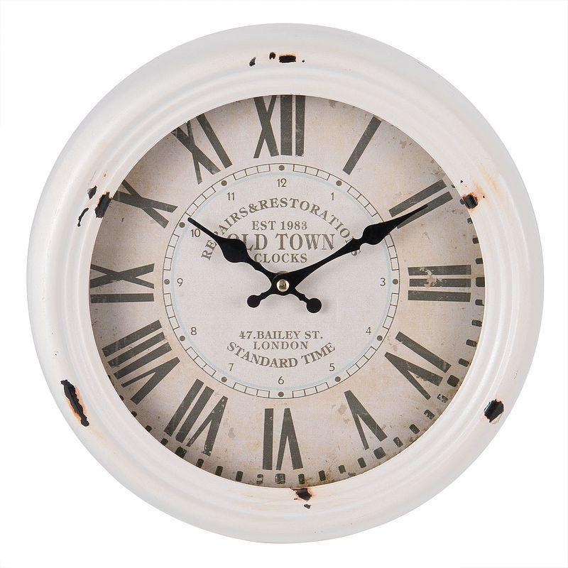 Kovové bílé nástěnné hodiny OLD TOWN - 30 cm (Clayre & Eef)