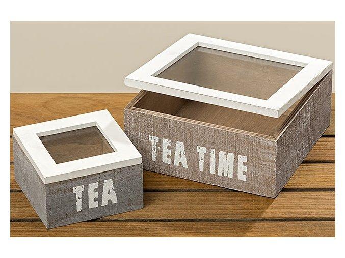 DŘEVĚNÝ BOX VELKÝ NA ČAJOVÉ SÁČKY TEA TIME