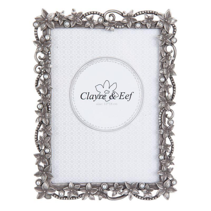 Rámeček na fotku zdobený květy a perlami - 16 x 2 x 21 cm (Clayre & Eef)
