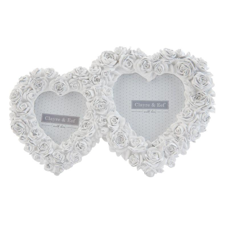 Rámeček na fotku DOUBLE HEART s růžemi bílý (Clayre & Eef)