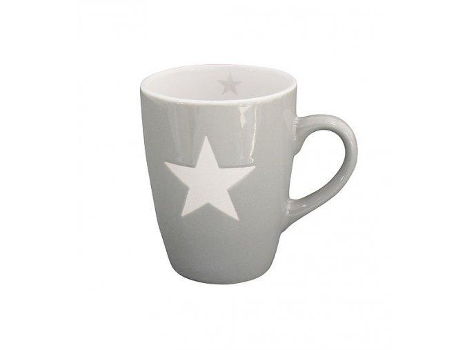 """PORCELÁNOVÝ HRNEK """"STAR"""" - ŠEDÝ 330 ML (KRASILNIKOFF)"""