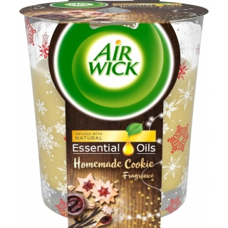 Air Wick Essential Oils Warm Vanilla vonná svíčka 105 g