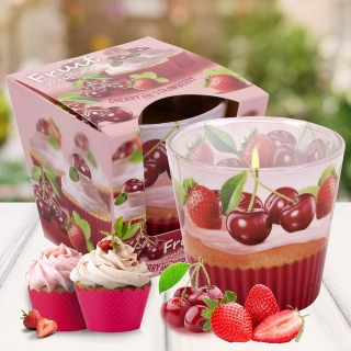 Vonná svíčka ve skle Fruit Muffins Cherry and Strawberry 115 g